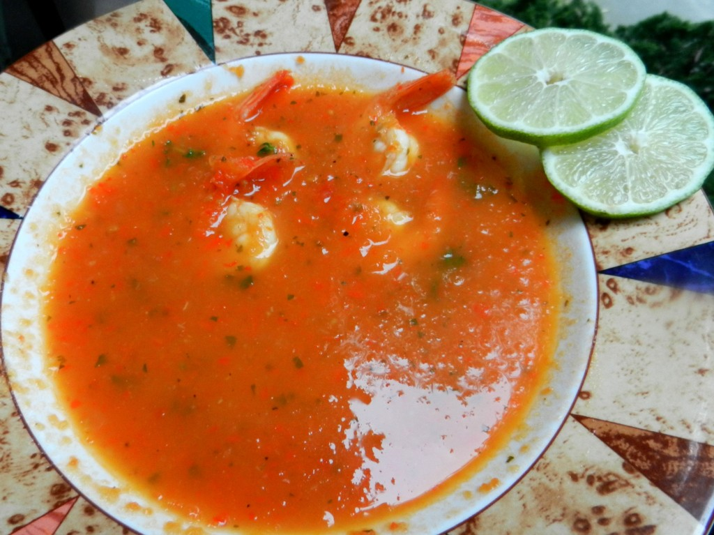 Red Pepper, Tomato & Shrimp Soup