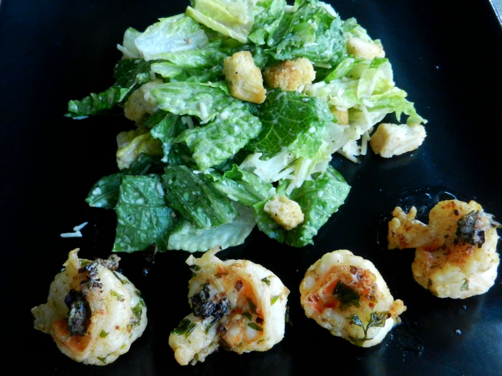 garlic shrimp Caesar salad