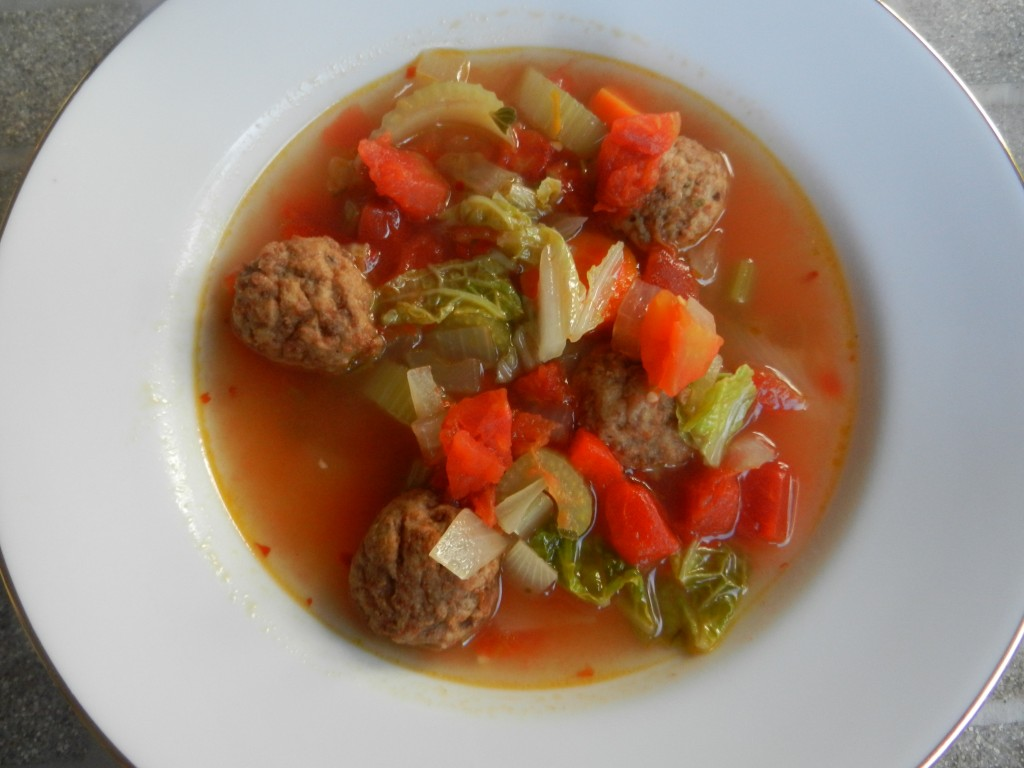 Easy Meatless Meatball Soup